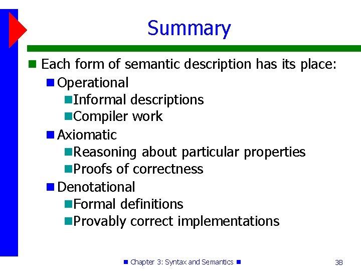 Summary Each form of semantic description has its place: Operational Informal descriptions Compiler work