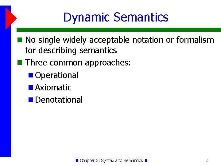 Dynamic Semantics No single widely acceptable notation or formalism for describing semantics Three common