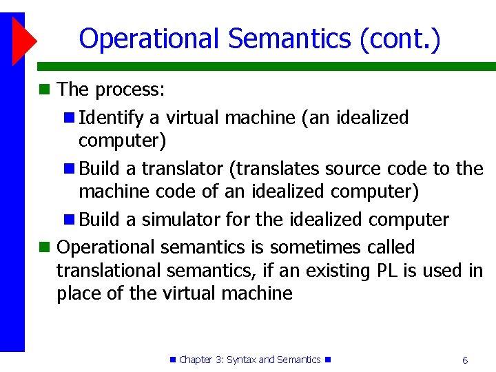 Operational Semantics (cont. ) The process: Identify a virtual machine (an idealized computer) Build