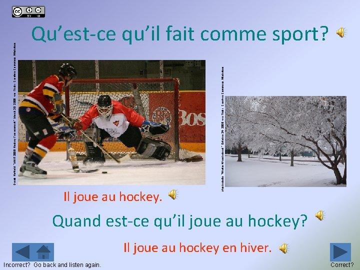 "Il joue au hockey. Incorrect? Go back and listen again. stashabella, ""Winter Wonderland, """