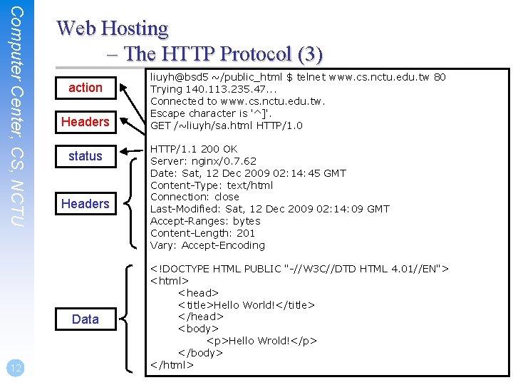 Computer Center, CS, NCTU Web Hosting – The HTTP Protocol (3) action Headers status