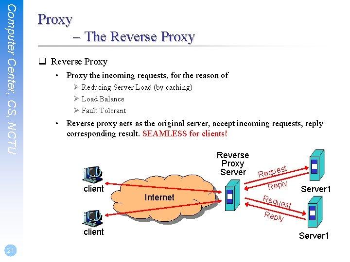 Computer Center, CS, NCTU Proxy – The Reverse Proxy q Reverse Proxy • Proxy