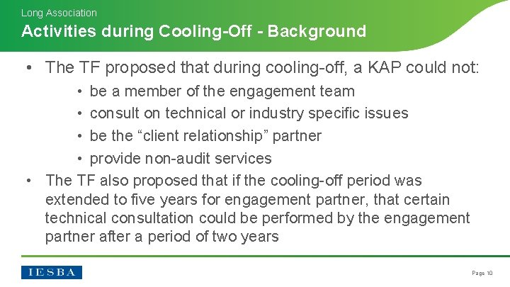 Long Association Activities during Cooling-Off - Background • The TF proposed that during cooling-off,