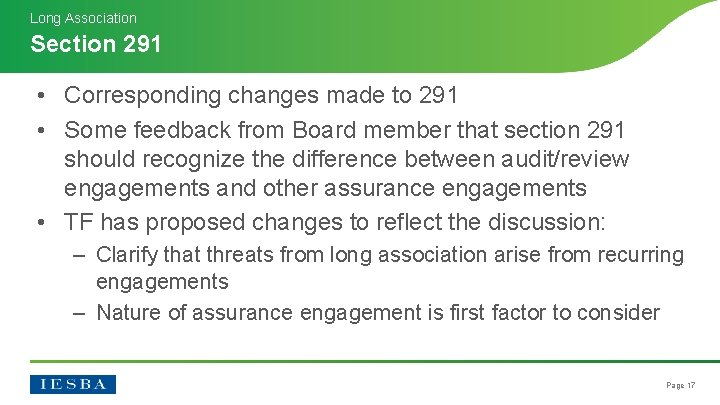 Long Association Section 291 • Corresponding changes made to 291 • Some feedback from