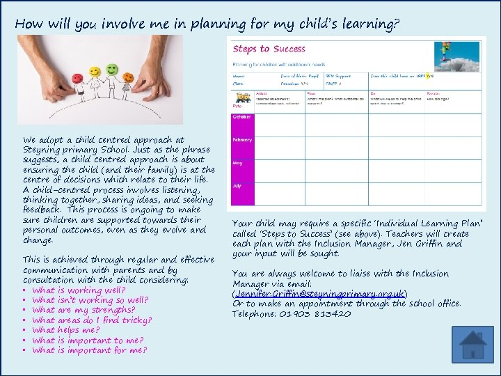How will you involve me in planning for my child's learning? We adopt a