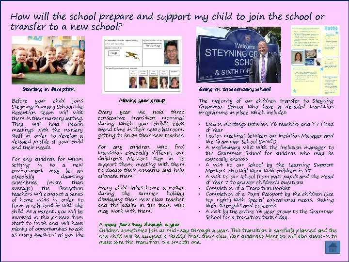 How will the school prepare and support my child to join the school or