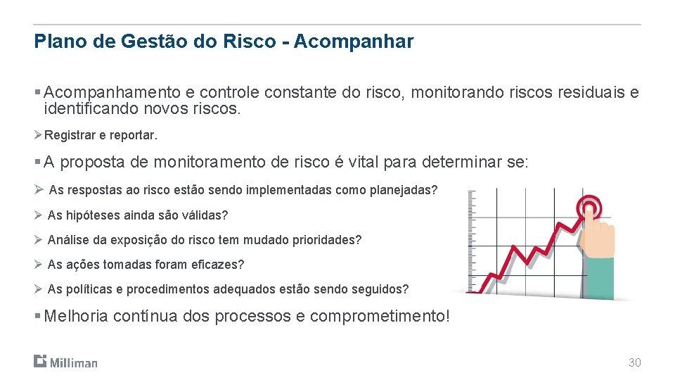 Plano de Gestão do Risco - Acompanhar § Acompanhamento e controle constante do risco,