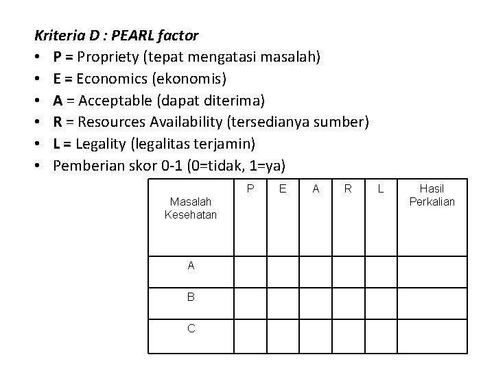Kriteria D : PEARL factor • P = Propriety (tepat mengatasi masalah) • E