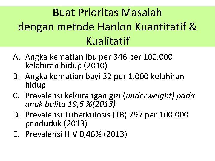 Buat Prioritas Masalah dengan metode Hanlon Kuantitatif & Kualitatif A. Angka kematian ibu per