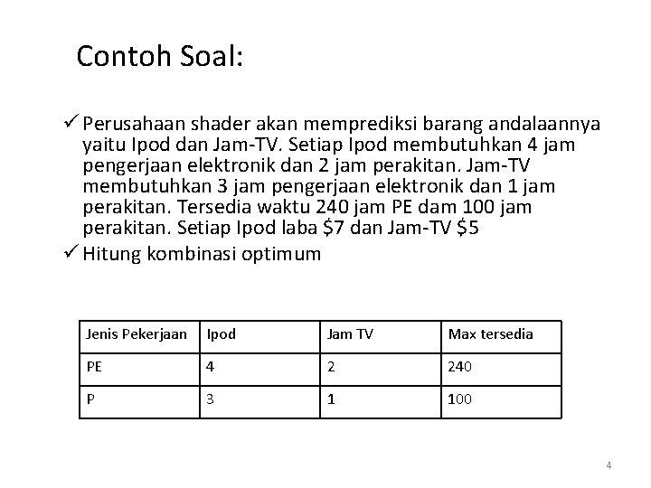 Contoh Soal: ü Perusahaan shader akan memprediksi barang andalaannya yaitu Ipod dan Jam-TV. Setiap