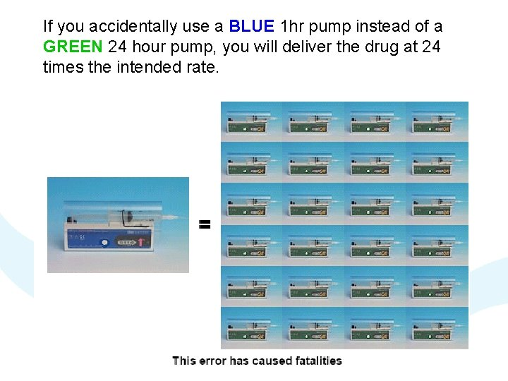 If you accidentally use a BLUE 1 hr pump instead of a GREEN 24