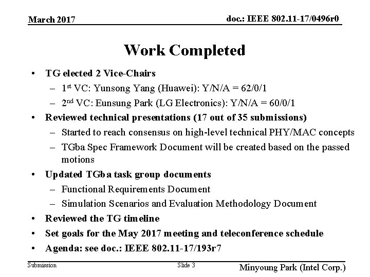 doc. : IEEE 802. 11 -17/0496 r 0 March 2017 Work Completed • TG