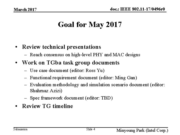 doc. : IEEE 802. 11 -17/0496 r 0 March 2017 Goal for May 2017