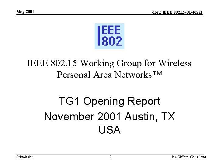 May 2001 doc. : IEEE 802. 15 -01/462 r 1 IEEE 802. 15 Working
