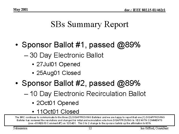 May 2001 doc. : IEEE 802. 15 -01/462 r 1 SBs Summary Report •