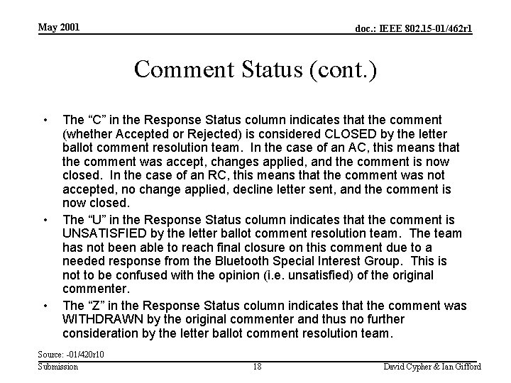 May 2001 doc. : IEEE 802. 15 -01/462 r 1 Comment Status (cont. )