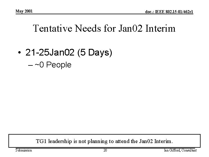 May 2001 doc. : IEEE 802. 15 -01/462 r 1 Tentative Needs for Jan