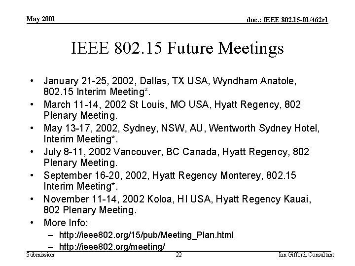 May 2001 doc. : IEEE 802. 15 -01/462 r 1 IEEE 802. 15 Future