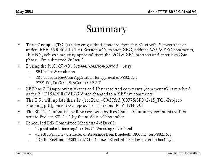 May 2001 doc. : IEEE 802. 15 -01/462 r 1 Summary • • Task