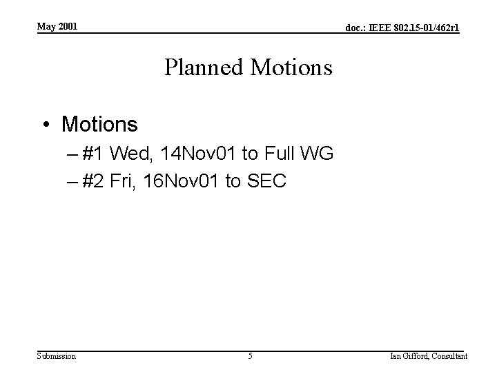 May 2001 doc. : IEEE 802. 15 -01/462 r 1 Planned Motions • Motions