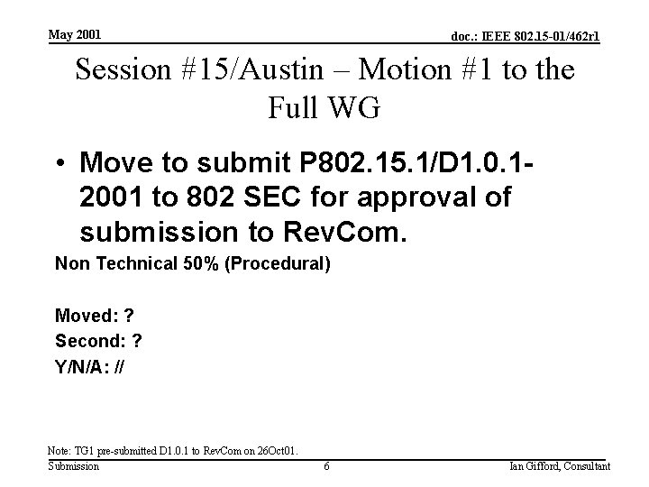 May 2001 doc. : IEEE 802. 15 -01/462 r 1 Session #15/Austin – Motion
