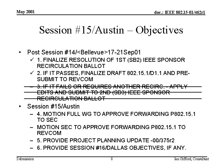 May 2001 doc. : IEEE 802. 15 -01/462 r 1 Session #15/Austin – Objectives