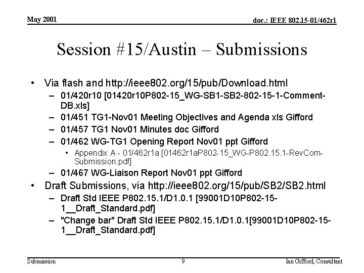 May 2001 doc. : IEEE 802. 15 -01/462 r 1 Session #15/Austin – Submissions