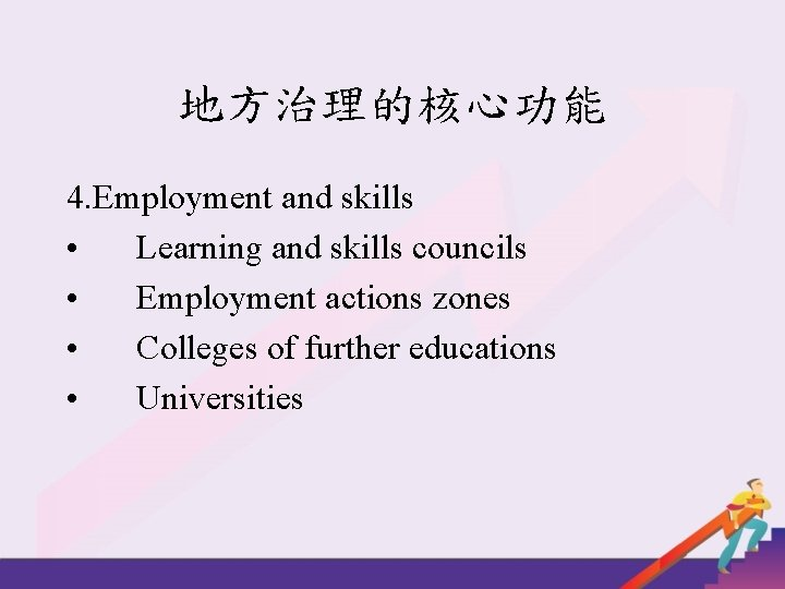 地方治理的核心功能 4. Employment and skills • Learning and skills councils • Employment actions zones
