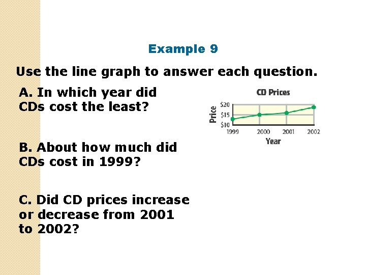 Example 9 Use the line graph to answer each question. A. In which year