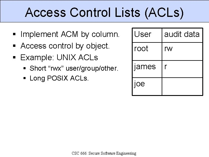 Access Control Lists (ACLs) § Implement ACM by column. § Access control by object.