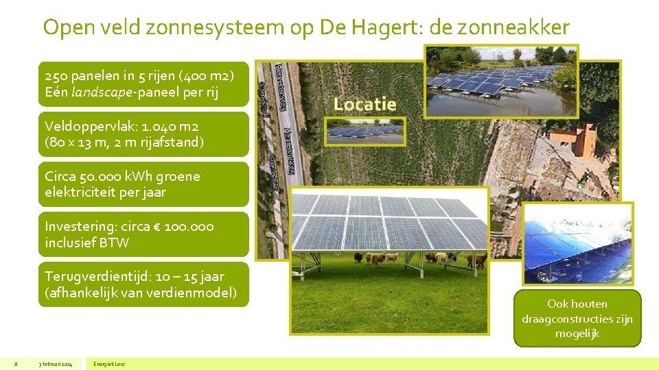 Open veld zonnesysteem op De Hagert: de zonneakker 250 panelen in 5 rijen (400