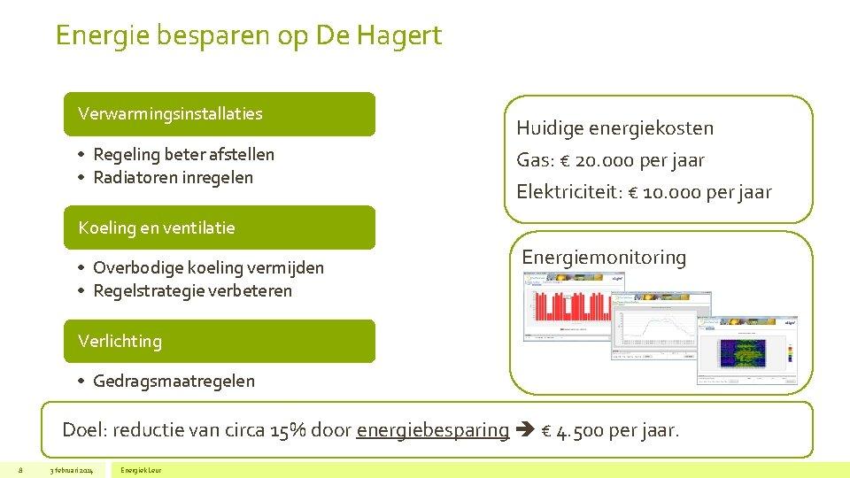 Energie besparen op De Hagert Verwarmingsinstallaties • Regeling beter afstellen • Radiatoren inregelen Huidige