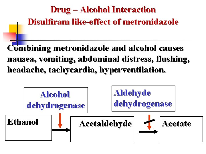 Drug – Alcohol Interaction Disulfiram like-effect of metronidazole Combining metronidazole and alcohol causes nausea,