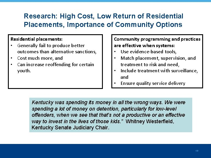 Research: High Cost, Low Return of Residential Placements, Importance of Community Options Residential placements: