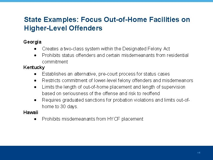 State Examples: Focus Out-of-Home Facilities on Higher-Level Offenders Georgia Creates a two-class system within