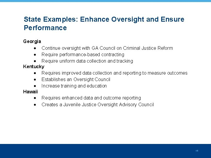 State Examples: Enhance Oversight and Ensure Performance Georgia Continue oversight with GA Council on