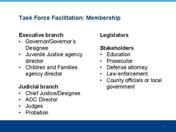 Task Force Facilitation: Membership Executive branch • Governor/Governor's Designee • Juvenile Justice agency director
