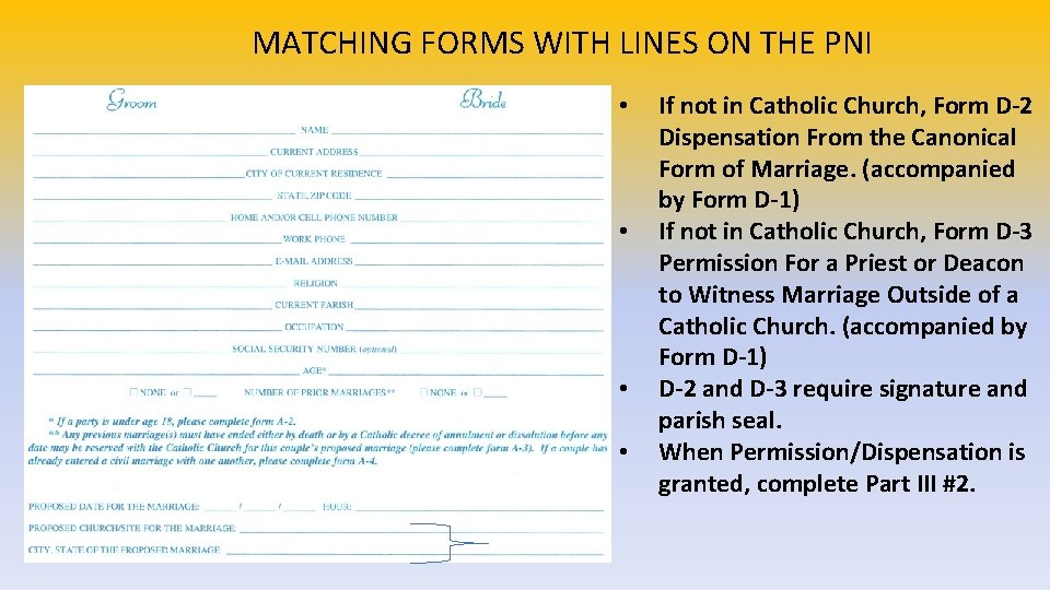 MATCHING FORMS WITH LINES ON THE PNI • • If not in Catholic Church,