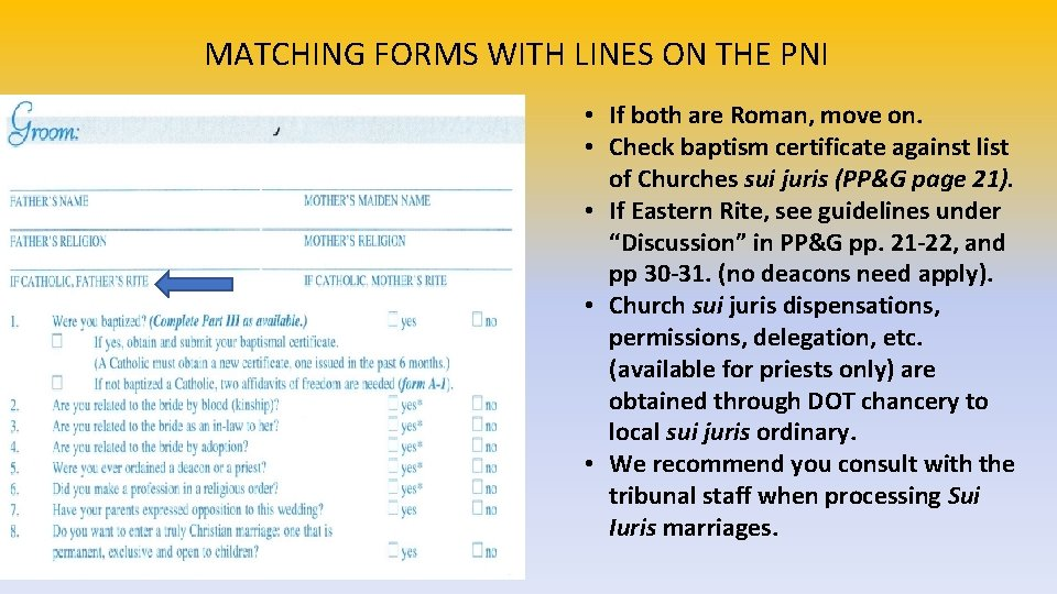 MATCHING FORMS WITH LINES ON THE PNI • If both are Roman, move on.