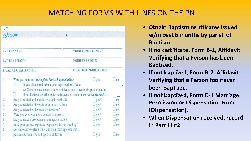 MATCHING FORMS WITH LINES ON THE PNI • Obtain Baptism certificates issued w/in past