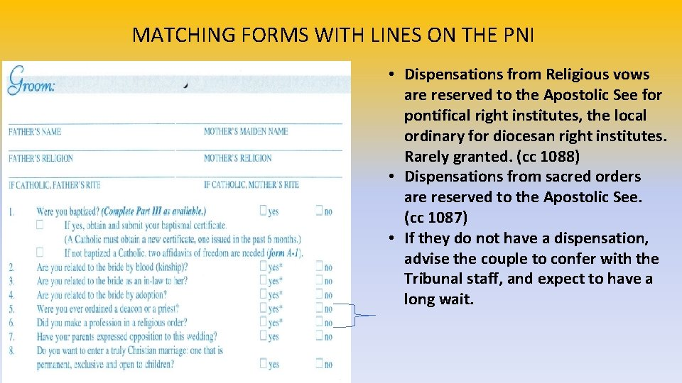 MATCHING FORMS WITH LINES ON THE PNI • Dispensations from Religious vows are reserved