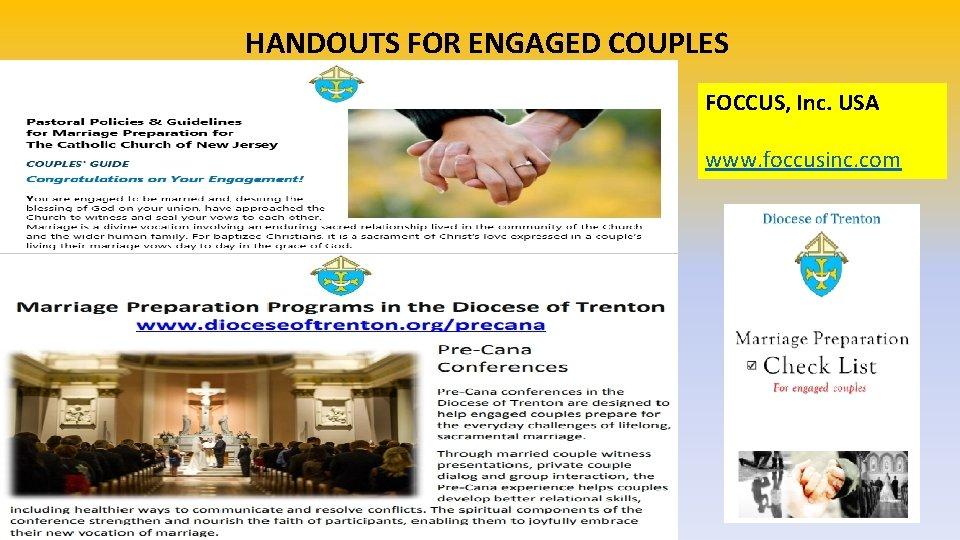 HANDOUTS FOR ENGAGED COUPLES FOCCUS, Inc. USA www. foccusinc. com