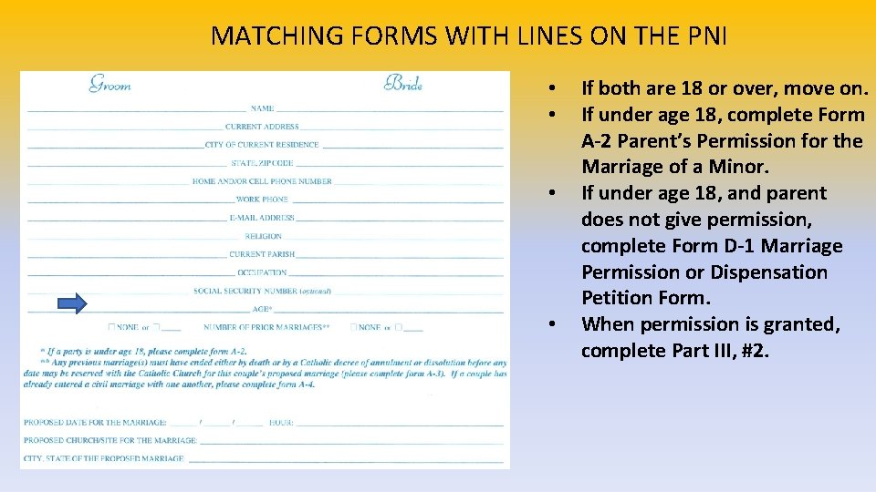 MATCHING FORMS WITH LINES ON THE PNI • • If both are 18 or