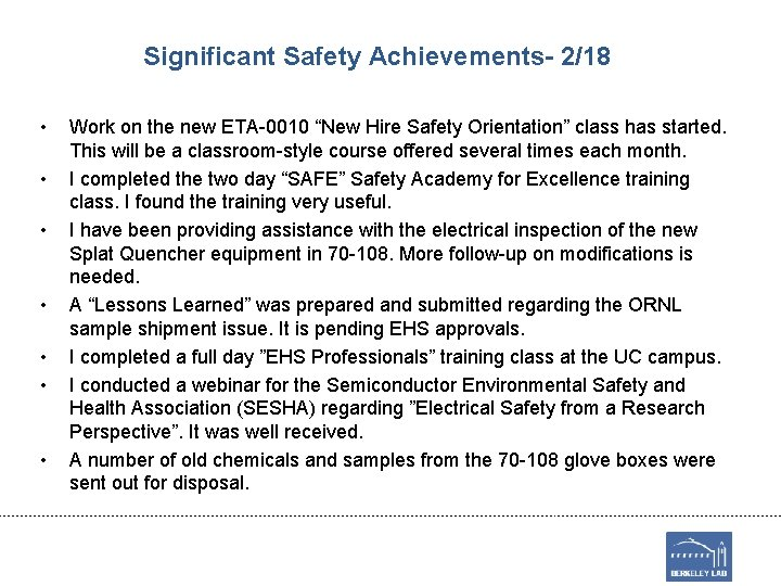 """Significant Safety Achievements- 2/18 • • Work on the new ETA-0010 """"New Hire Safety"""