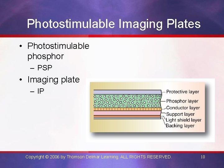 Photostimulable Imaging Plates • Photostimulable phosphor – PSP • Imaging plate – IP Copyright