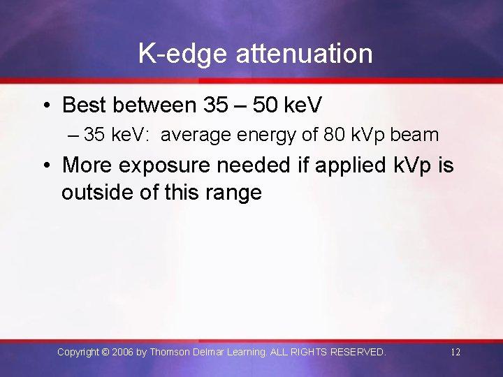K-edge attenuation • Best between 35 – 50 ke. V – 35 ke. V: