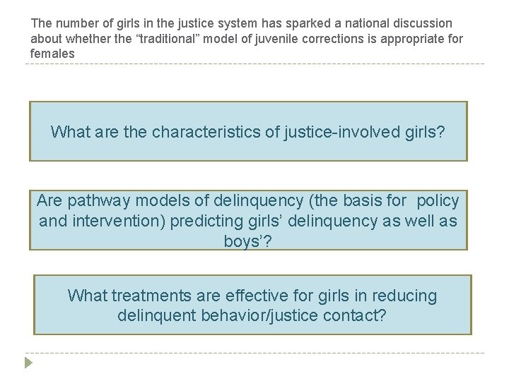 The number of girls in the justice system has sparked a national discussion about