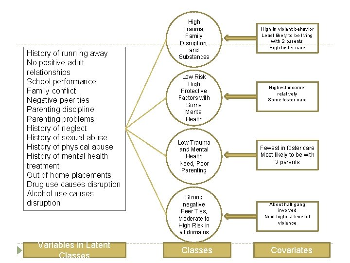 History of running away No positive adult relationships School performance Family conflict Negative peer
