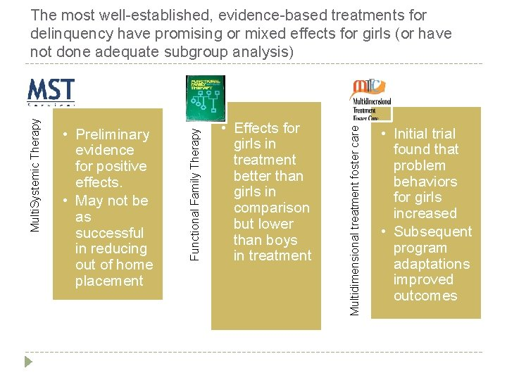 • Effects for girls in treatment better than girls in comparison but lower