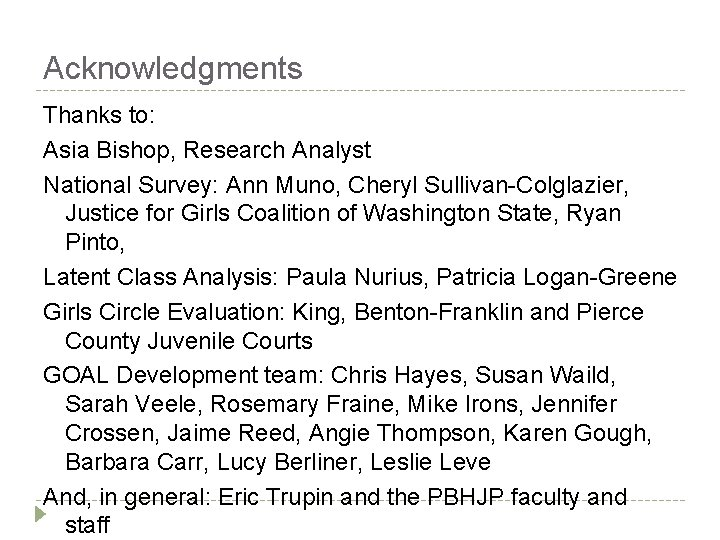 Acknowledgments Thanks to: Asia Bishop, Research Analyst National Survey: Ann Muno, Cheryl Sullivan-Colglazier, Justice